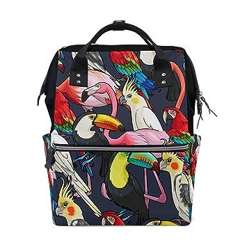 TIZORAX - Mochila para bebé con diseño de flamenco exótico y tucano, gran capacidad, multifunción, bolsa para pañales, mochila de viaje para cuidado del ...