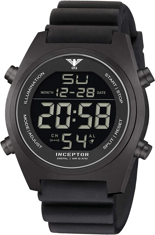 KHS Inceptor Black Steel Digital KHS.INCBSD.DB - Reloj de pulsera digital con banda de refuerzo, color negro