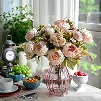 Fiori artificiali, bouquet decorativo di peonie in seta per matrimoni, feste, Natale, colore rosa Style 4-1