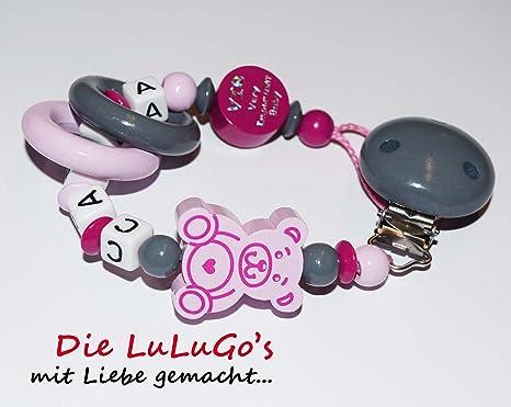 Cadena para chupete con nombres oso VIP color rosa rosa gris ...