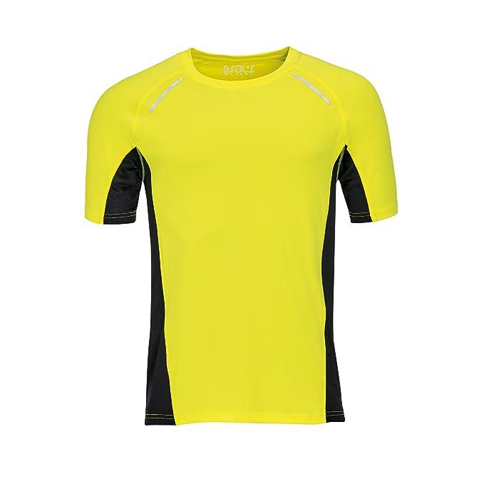 SOLS - Camiseta de running con reflectivo Modelo Sydney Hombre caballero: Amazon.es: Ropa y accesorios