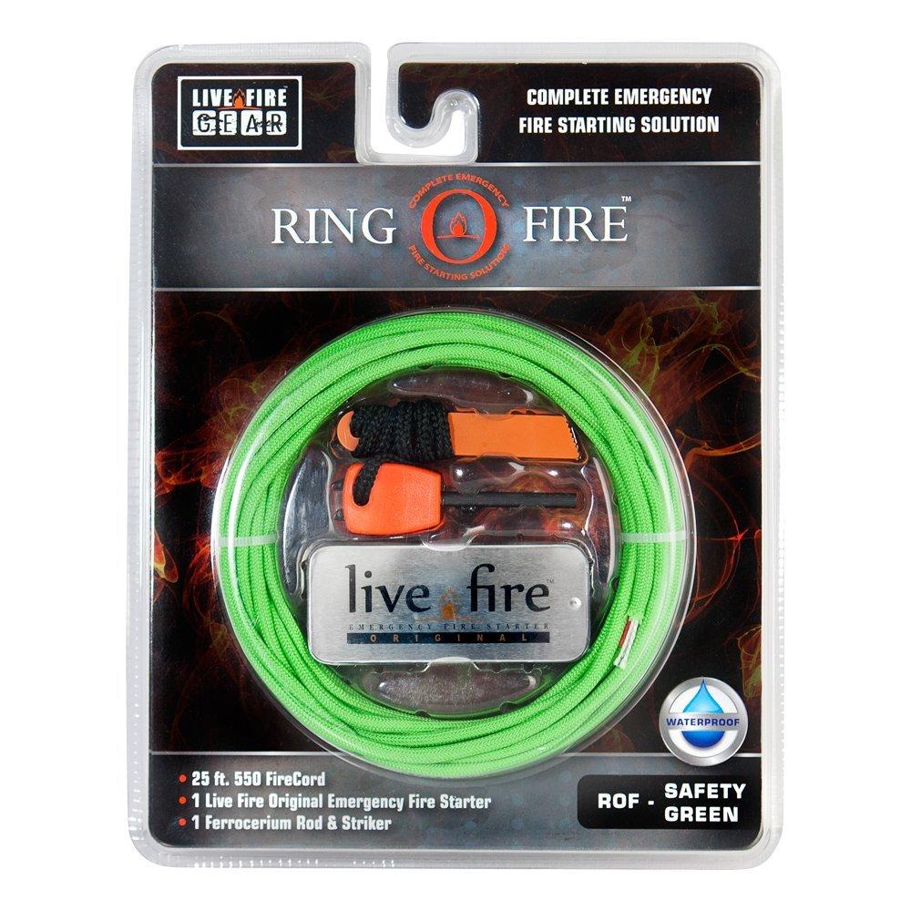 Ring O Fire by Live Fire Gear 着火糸入り550パラコード Live Fire オリジナルファイアスターター フェロセリウム棒+ストライカー B071CK34R5 グリーン(Safety Green) グリーン(Safety Green)