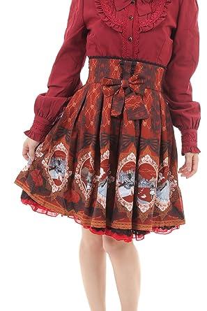 f7996694cb7 Amazon   クラシカルロリータ シフォンスカート アリス (S~M, レッド)   スカート 通販