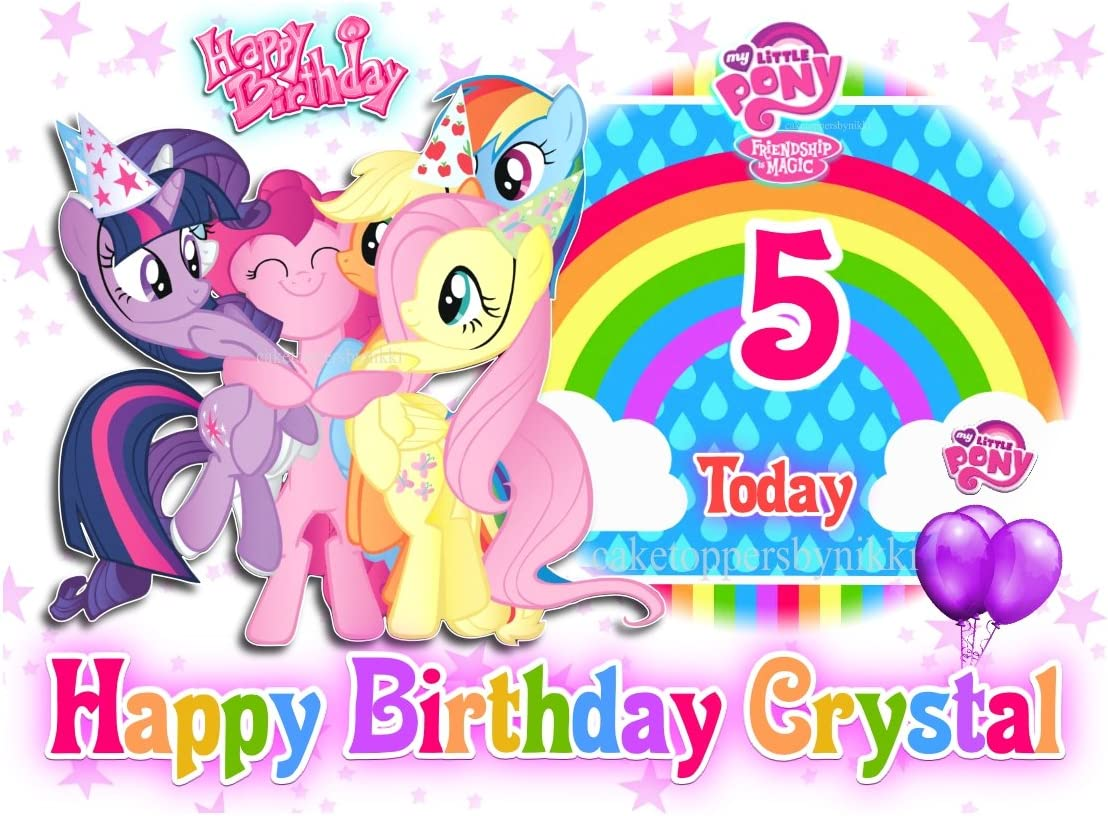 Magnificent Edible My Little Pony A4 Icing Girls Personalised Cake Topper Personalised Birthday Cards Beptaeletsinfo