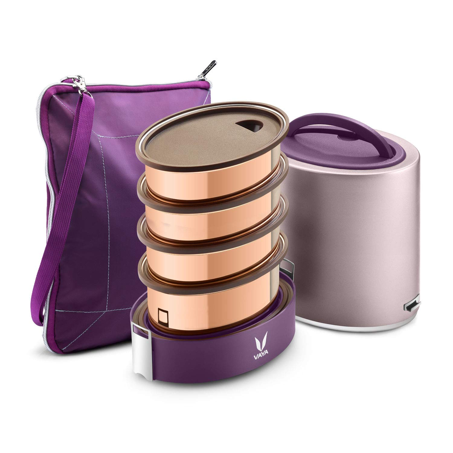 Vaya Tyffyn Jumbo Purple Copper-Finished Stainless Steel Lunch Box with Bagmat, 1300 ml, 4 Containers, Purple (B07MG57ZCH) Amazon Price History, Amazon Price Tracker