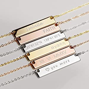 Custom Engraved Necklace for Mom Mothers Day Gift for Her Women Birthday Wedding Personalized Name Necklace Gold Nana Necklace Stocking Stuffers Graduation Gift for Her - 4N