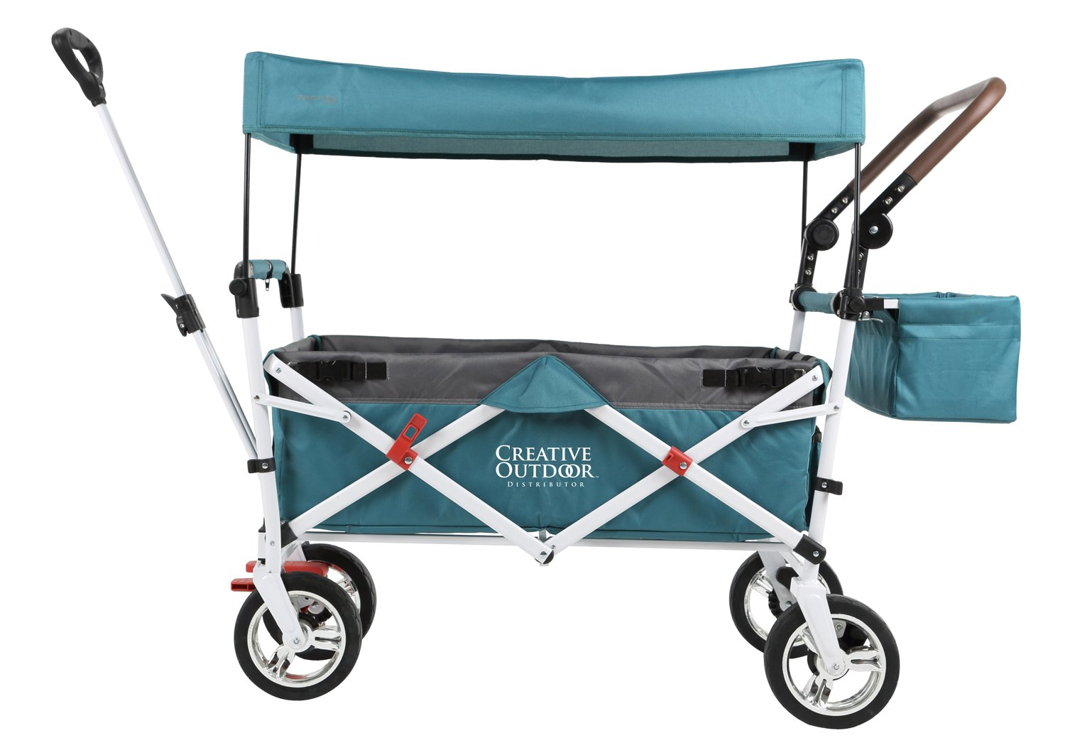 Push Pull Wagon for Kids, Foldable with Sun/Rain Shade (Aqua Gray)