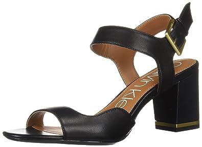 ee3afec31042 Calvin Klein Women s Chantay Heeled Sandal Black Leather 5 ...