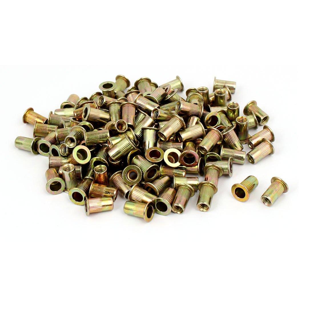 uxcell 10#24 Straight Knurled Rivet Nut Insert Nutsert Bronze Tone 150pcs