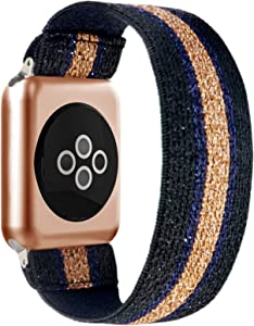 BMBEAR Stretchy Strap Loop Compatible with Apple Watch Band 38mm 40mm iWatch Series 6/5/4/3/2/1 Black Gold