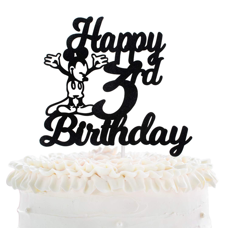 Strange Happy 3Rd Birthday Cake Topper Disney Mickey Mouse Theme Black Funny Birthday Cards Online Overcheapnameinfo