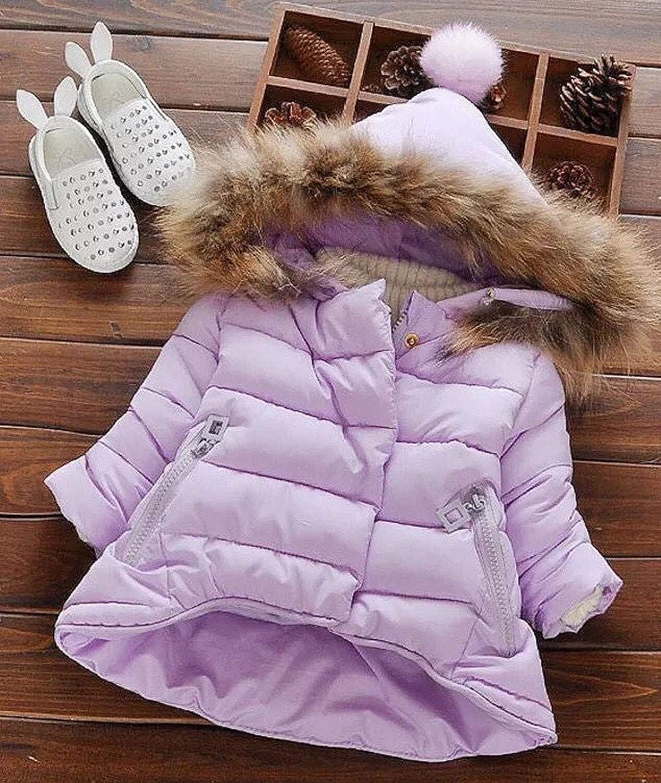 WARMSHOP Unisex Baby Down Coat,2018 Boys Girls Winter Warm Thick Solid Fur Hooded Zipper Pocket Outwear Jacket