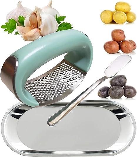 Stainless Steel Garlic Masher Press Crusher Squeezer Masher Kitchen Gadget