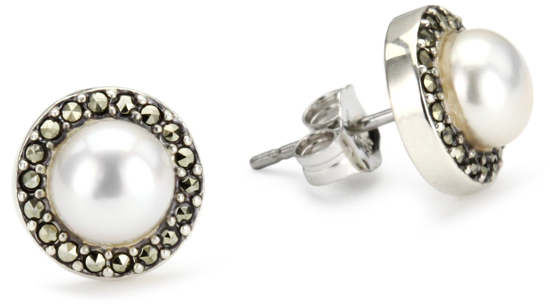 Judith Jack Sterling Silver, Freshwater Cultured Pearl, and Marcasite Button Earrings