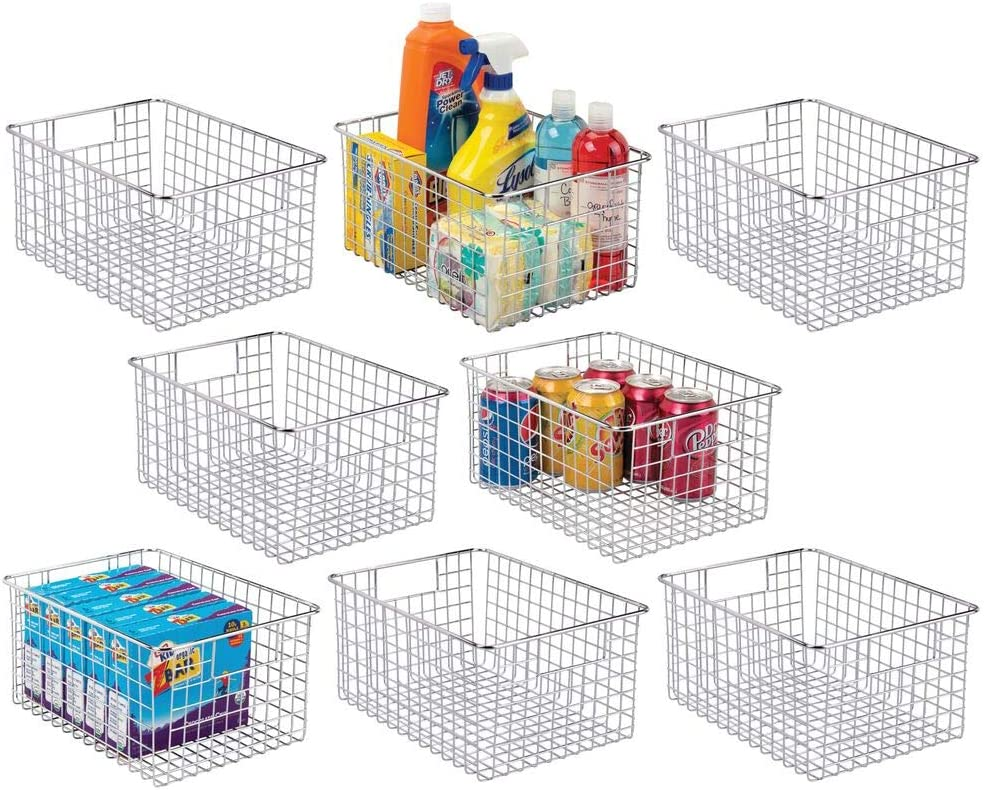 mDesign Farmhouse Decor Metal Wire Stackable Food Storage Organizer Bin Basket with Handles - for Kitchen Cabinets, Pantry, Bathroom, Laundry Room, Closets, Garage - 8 Pack - Chrome