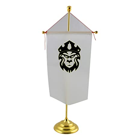 Un rey León con corona bandera de mesa: Amazon.es: Hogar