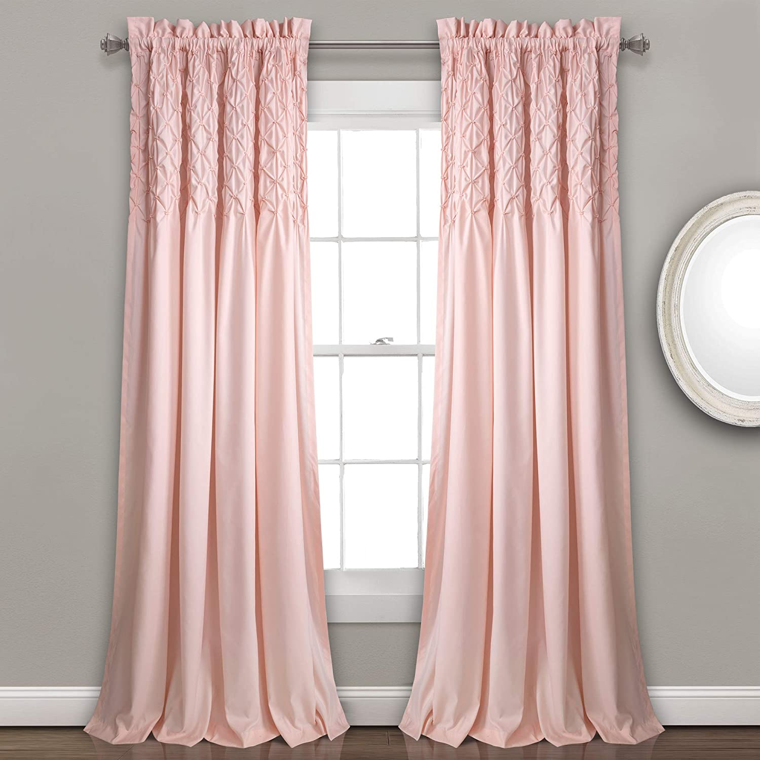 "Lush Decor Bayview Curtains - Pintuck Textured Semi Sheer Window Panel Drapes Set for Living, Dining, Bedroom (Pair), 84"" x 52"", Blush"