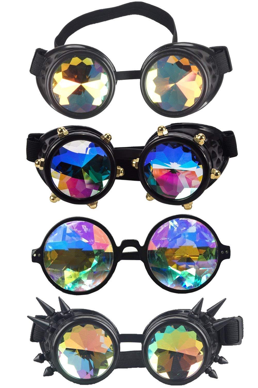 Kaleidoscope Rave Rainbow Crystal Lenses Vintage