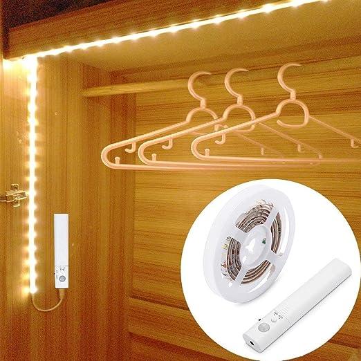 LED Schrankbeleuchtung,LUXJET® 45LED 150cm LED Streifen,BatterieBetrieben  Nachtlicht,3000K Warmweiß Bewegungssensor für Kinderzimmer, Schlafzimmer,  ...