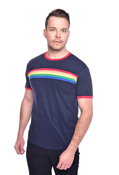 1960s -1970s Men's Clothing Run & Fly Mens 70s Navy Indie Retro Rainbow Striped T Shirt AUD 27.93 AT vintagedancer.com