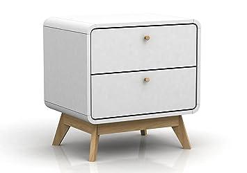 wei e nachttische mit schubladen auch f r boxspringbetten wonoro. Black Bedroom Furniture Sets. Home Design Ideas