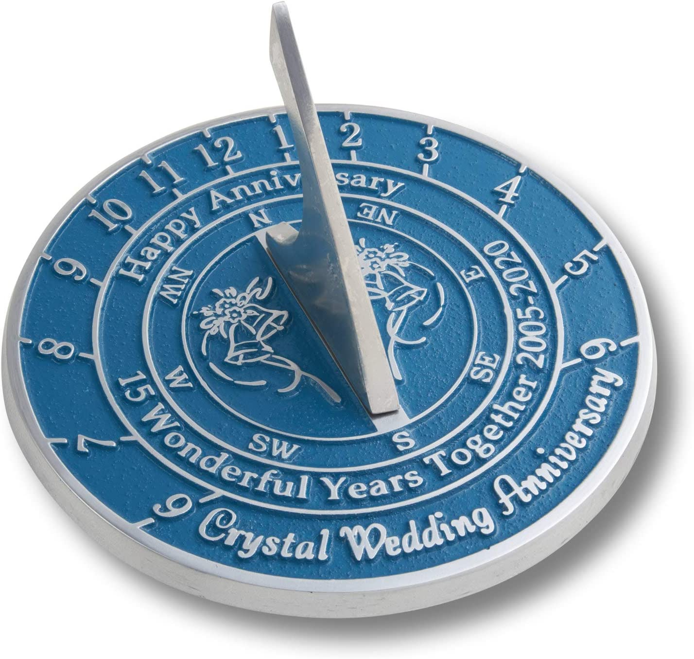The Metal Foundry 15th Crystal 2020 Wedding Anniversary Sundial Gift. Solid Recycled Metal Gift Idea is A Great Present for Him, Her, Parents Or Couple On 15 Years of Marriage