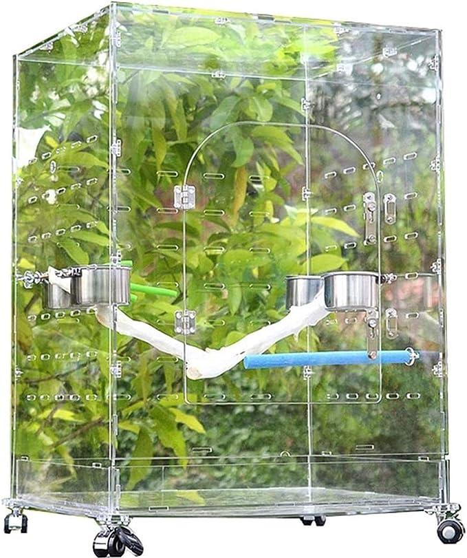 Jaula dpájaros duradera y ecológica, Jaula de vuelo para periquitos de loros para pájaros grandes, jaula de pájaros de acrílico de lujo, jaula de loros transparentes al aire libre, ardilla de perlas c