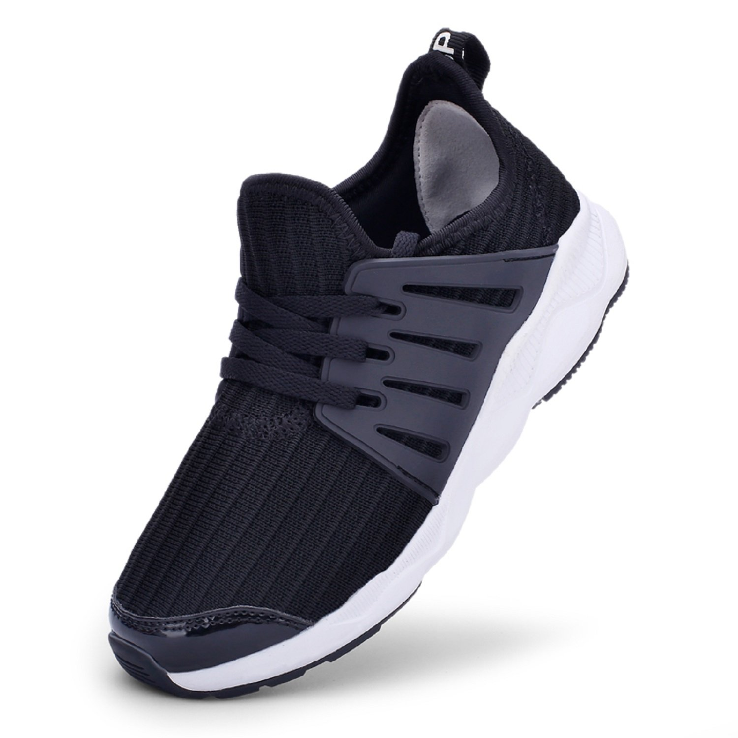 TQGOLD Kids Breathable Walking Running Shoes Boys&Girls Athletic Tennis Shoes Casual Outdoor Trainers(Size 38,Black)