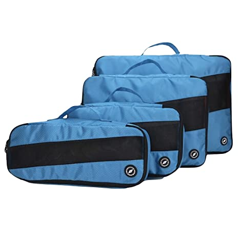 4 Organizadores para Maletas De Viaje 26 L, Azul-Negro
