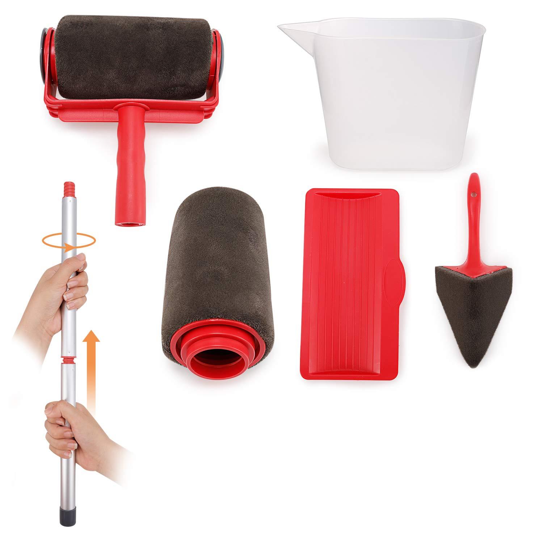 Paint Roller-8Pcs Kit de Rouleau de Peinture avec Poign/ée et Couture Ensemble Outil pour Peintre Mur Plafond D/écor Jardin Maison