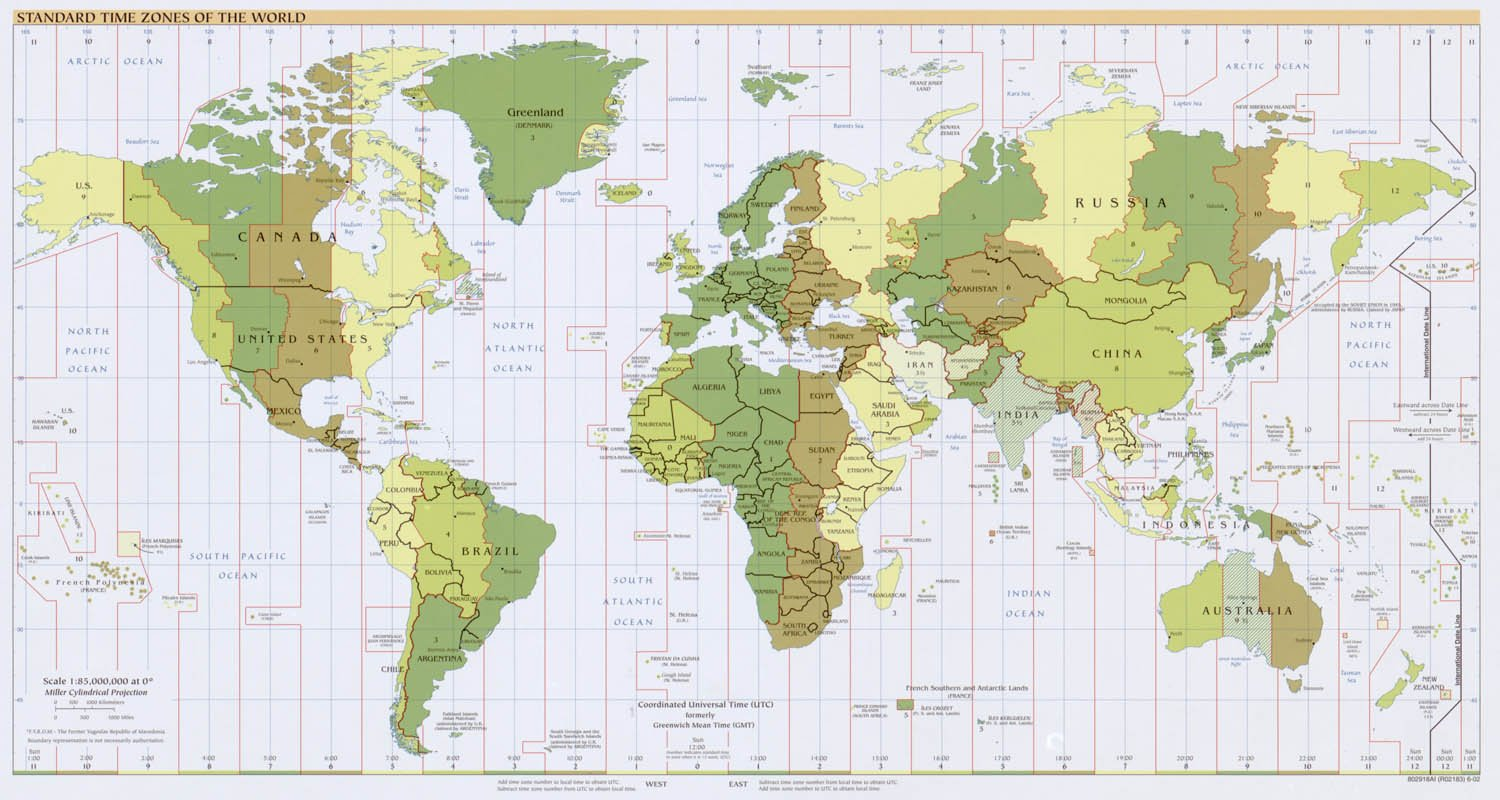 Amazoncom Map Poster Standard Time Zones Of The World - Amazon us map