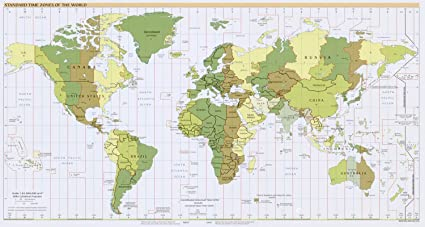 Time Map Of The World.Amazon Com Map Poster Standard Time Zones Of The World 24 X13