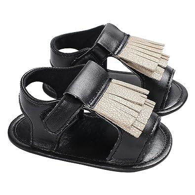 b114133c6e483 lakiolins Baby Girls Summer Tassels Open Toe Slingback Beach Flat Sandals  Walking Shoes Black Size 3M