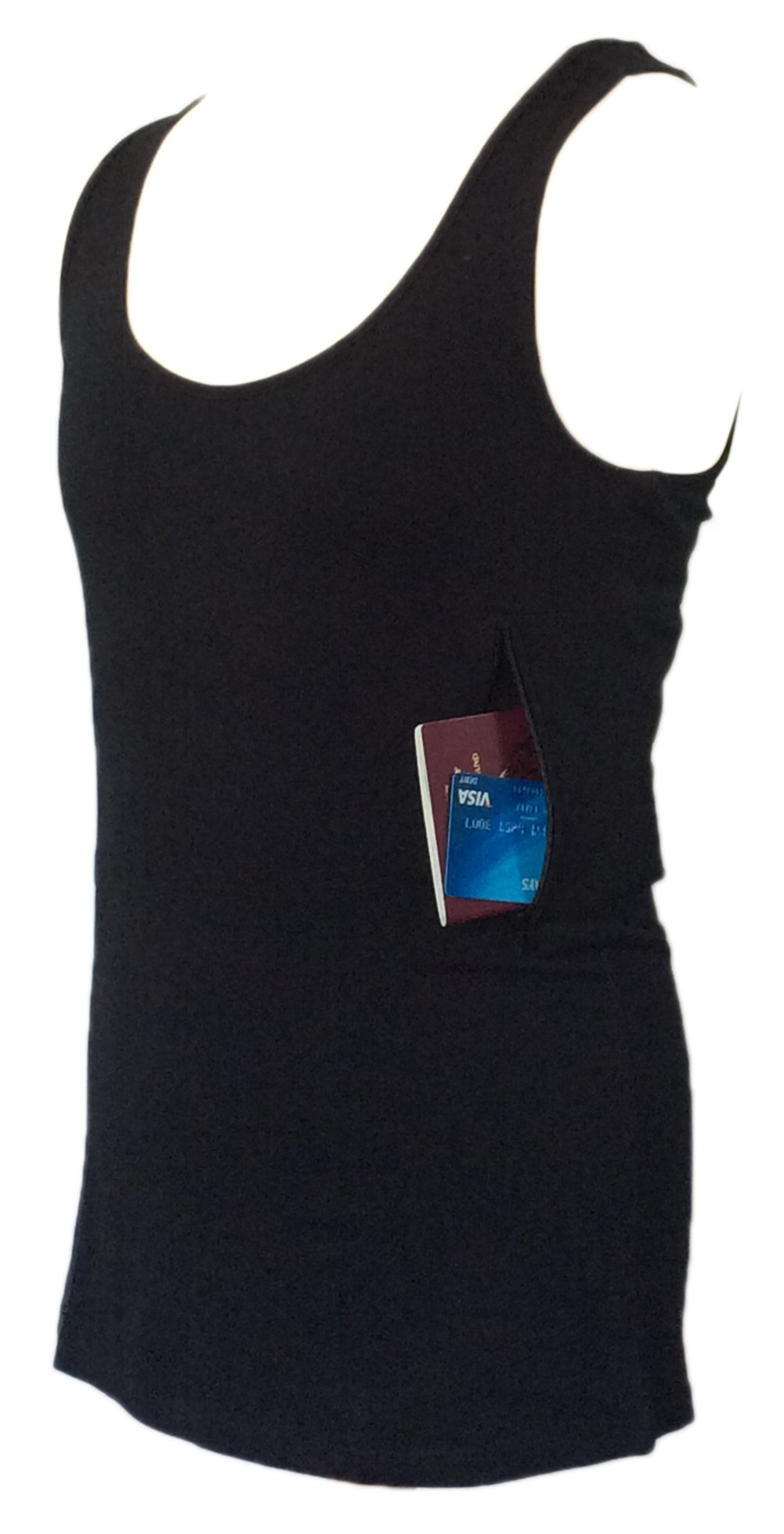 Clever Travel Companion Unisex Tank Top with Two Secret Pockets, Black, Medium