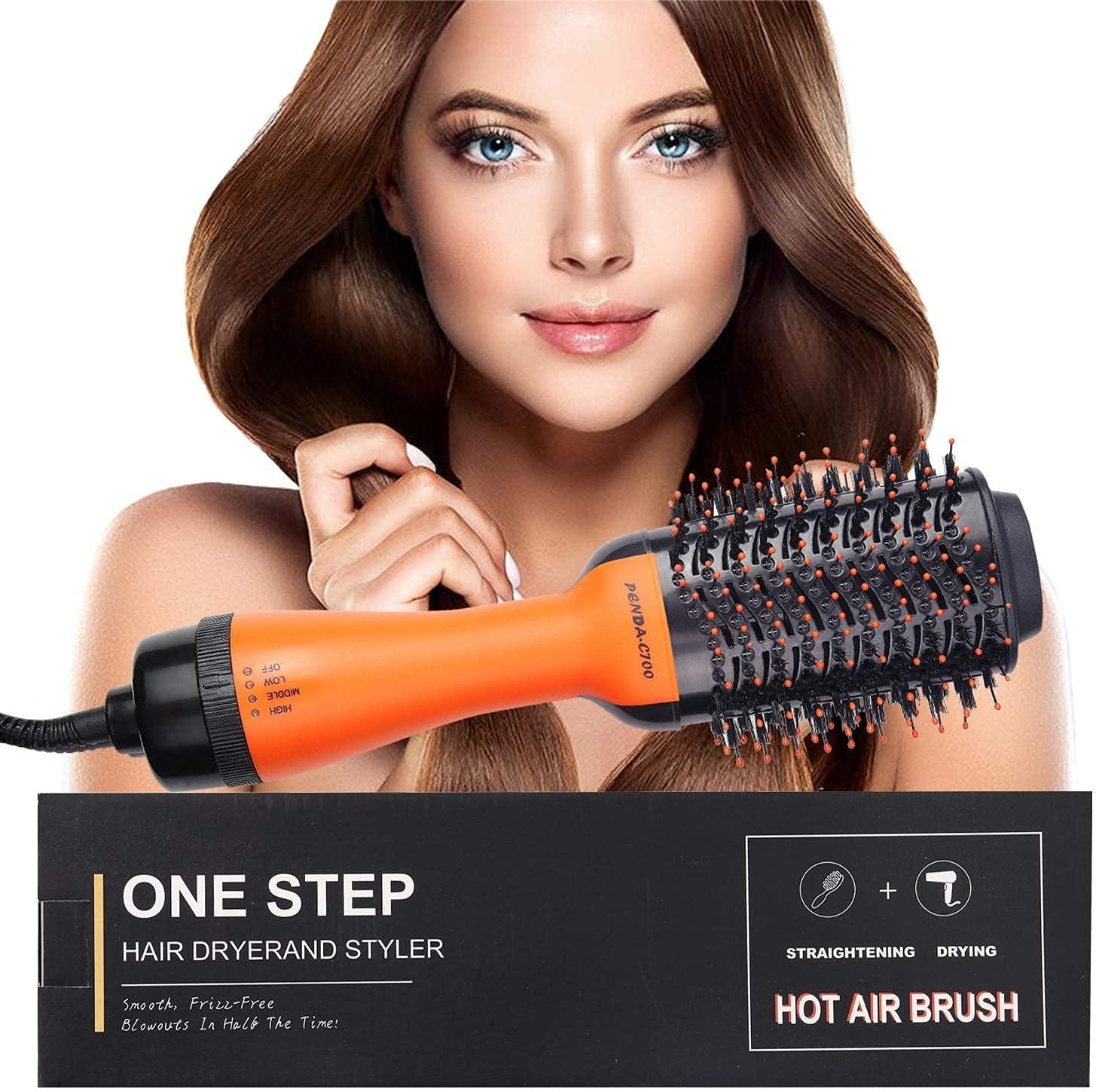 VINMEN Hot Air Brush,Hair Dryer ,Hair Dryer ,Hair Curler,Hair Straightener,Hair Comb, 4 in 1 Multifunctional hot air Comb,Hair Styling Tools , for Fast Drying,Straightening,Curling.(Black Orange): Health & Personal Care