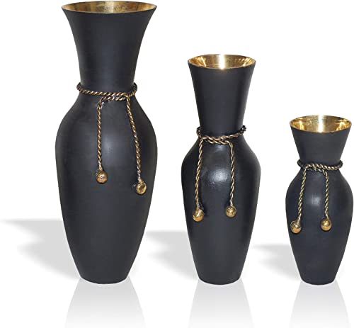 India Overseas Trading Corporation Brass Rope Vase Set, Black Table Small Vases Decor, 5 , 7 , 9