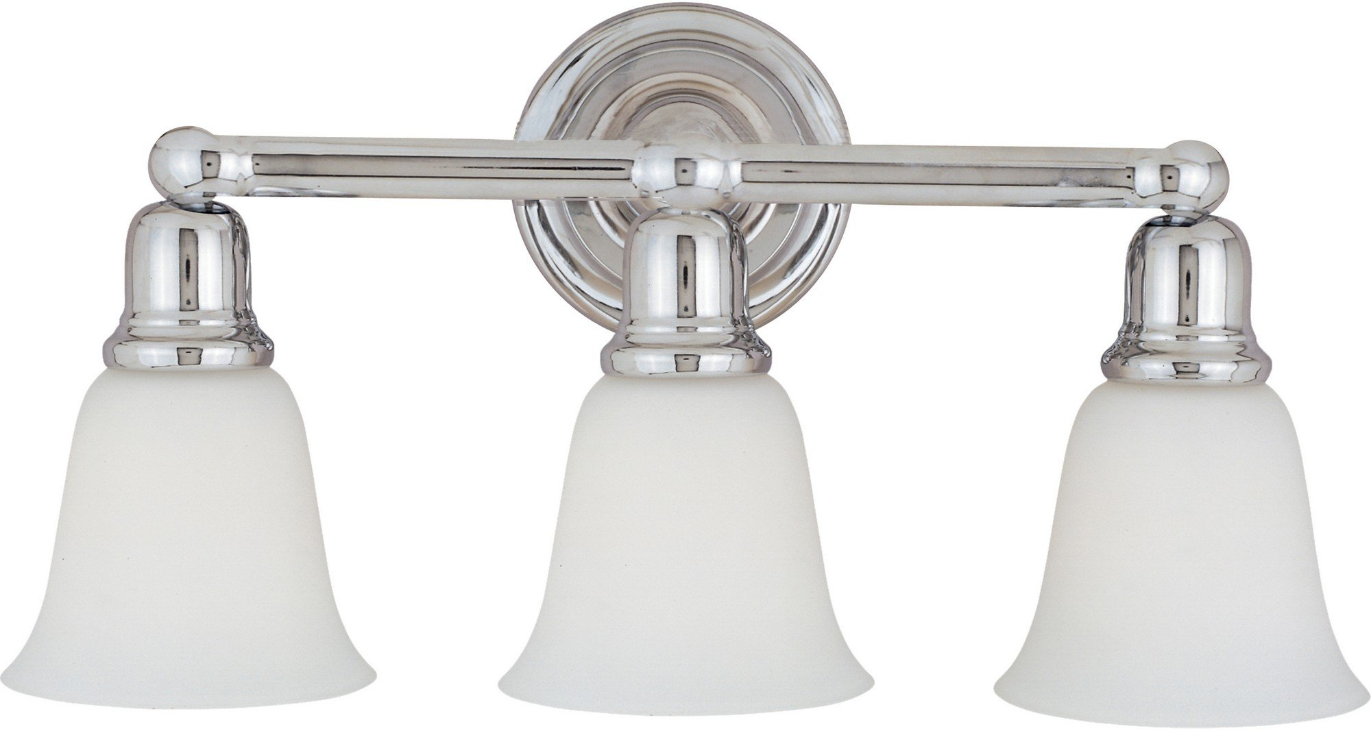 Maxim 11088WTPC Bel Air 3-Light Bath Vanity, Polished Chrome Finish, White Glass, MB Incandescent Incandescent Bulb , 60W Max., Dry Safety Rating, Standard Dimmable, Metal Shade Material, Rated Lumens