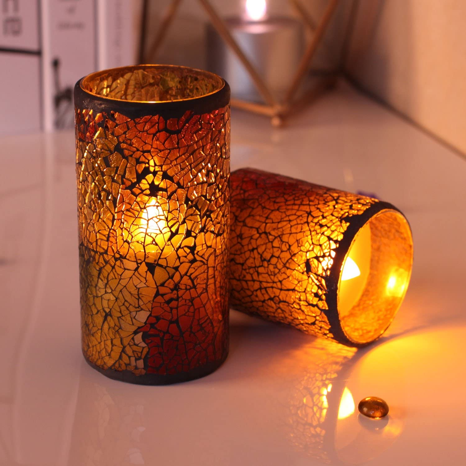 GiveU Red Mosaic Glass Led Timer Real Wax Pillar Flameless Candle Battery Operated for Home Table Lantern Decoration 3x6 inches