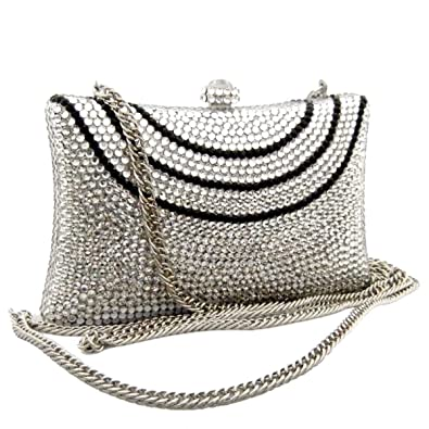 7c1778ad712 Amazing Silver Swarovski Crystal Evening Bag, Women Party Clutch Purse:  Handbags: Amazon.com