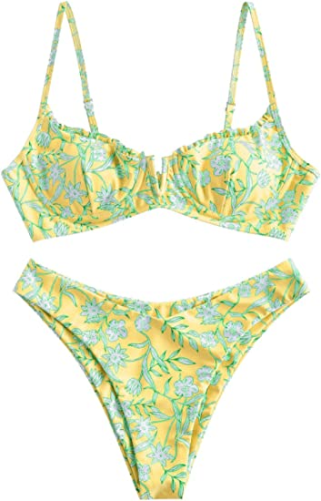 green yellow pattern bikini 90s cool good fit for big breast good support