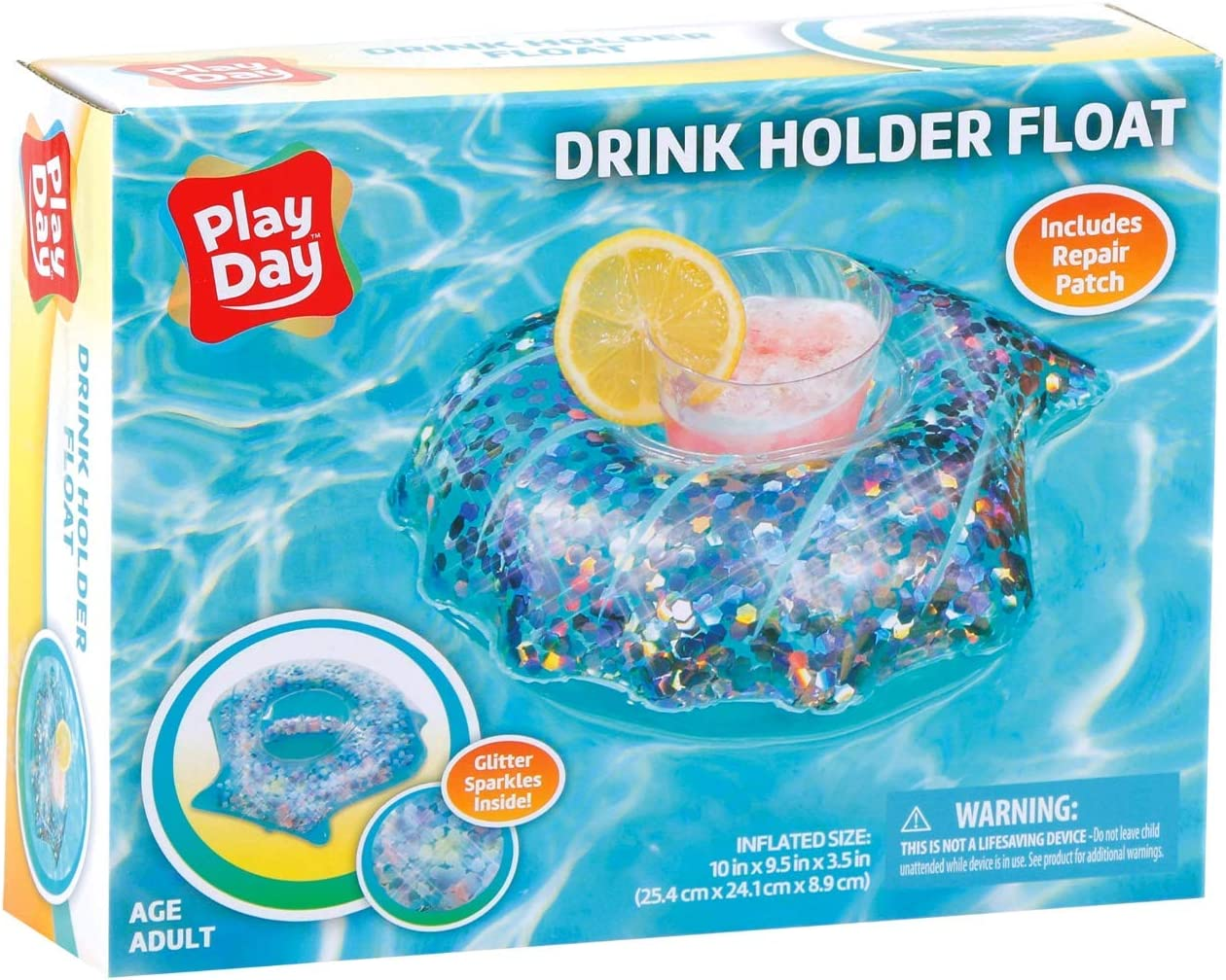 Play Day Inflatable Drink Holder Float Glitter Sparkles Swimming Pool