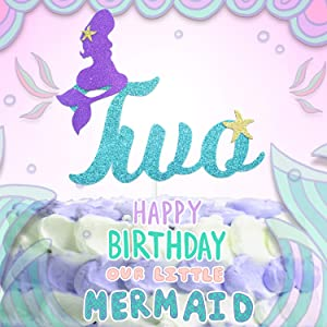 2nd Mermaid Happy Birthday Cake Topper Blue Gold Glitter Under The Sea Theme Photo Décor Picks for Baby Shower And Wedding Party Two Year Old Decorations Supplies