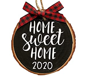 Home Sweet Home 2020 Wood Slice Christmas Ornament (Gift Box Included) Black w/Red Buffalo Check Bow