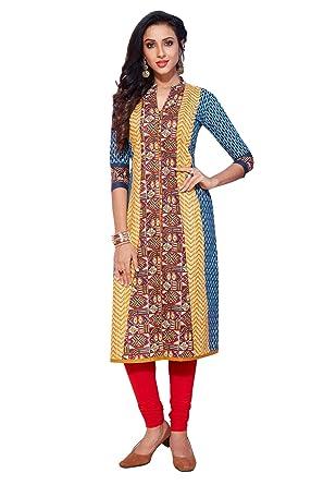 e32e6fd1d4 Salwar Studio Women's Blue & Red Pure Cotton Printed Straight Fit Readymade  Kurta/Kurti(SSK-SAHELI-1715): Amazon.in: Clothing & Accessories