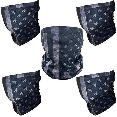 "ZeeDix 5 Pcs""Old Glory""American Flag Outdoor Face Shield - Multifunctional Seamless Microfiber UV Protection Face Neck Shields Headwear for Men&Women Riding, Skiing, Snowboarding, Hiking & More(Gray): Automotive"