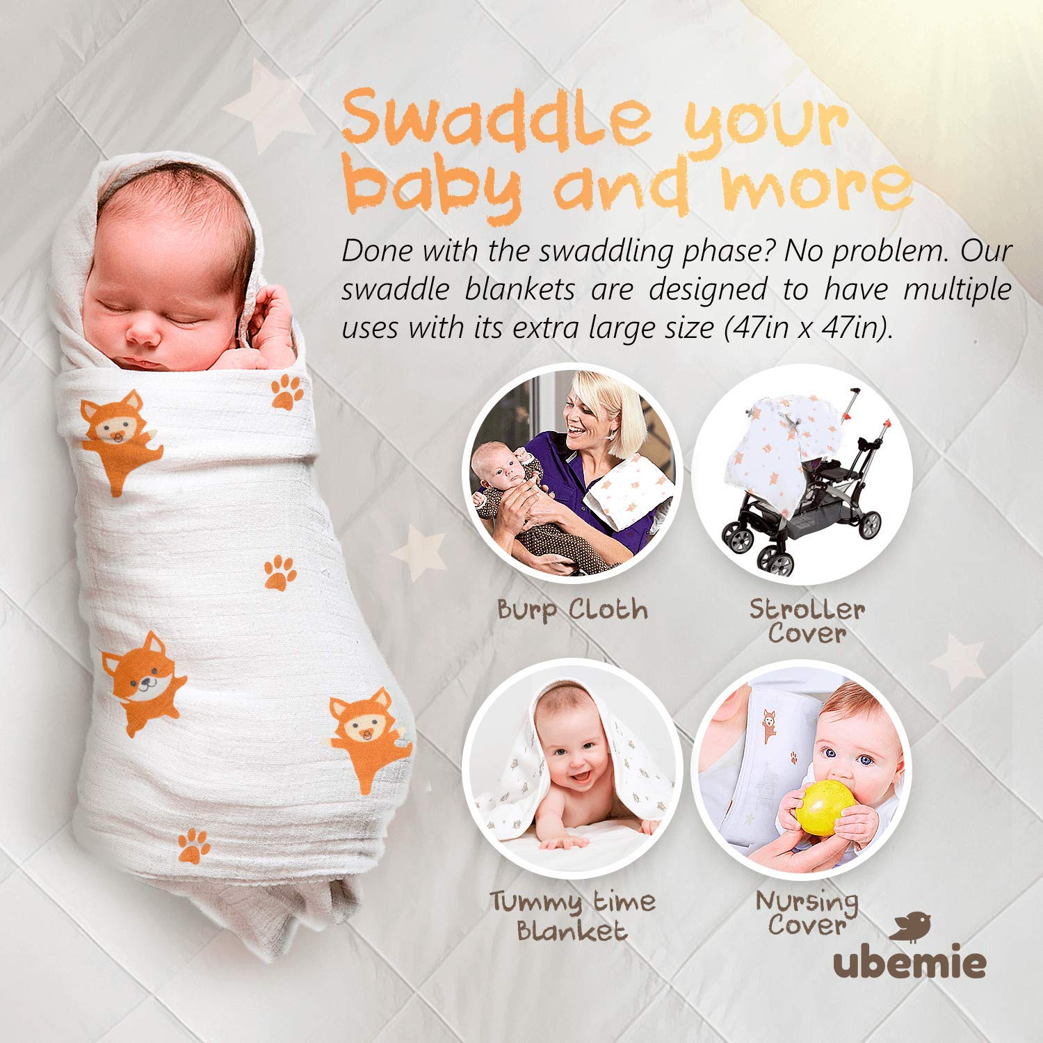 Softest Bamboo Muslin Swaddle Blankets - 2 Gender Neutral Baby Receiving  Blankets for Boys & Girls  