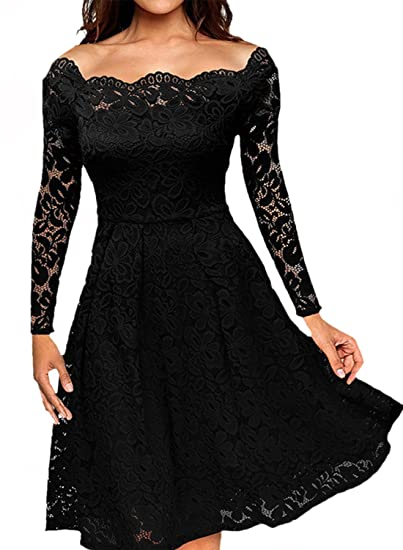 5681c45670741 Women's Vintage Floral Lace Formal Dresses for Any Plus Size Women Boat  Neck Swing Cocktail Dress for Wedding