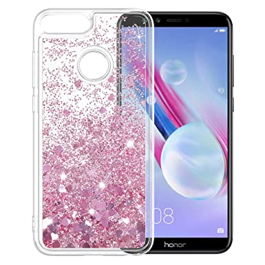 new products f9275 33b3e LK Case for Huawei Honor 9 Lite, Slim Shiny bling Glitter Sparkly Crystal  Liquid Cover - Rose gold