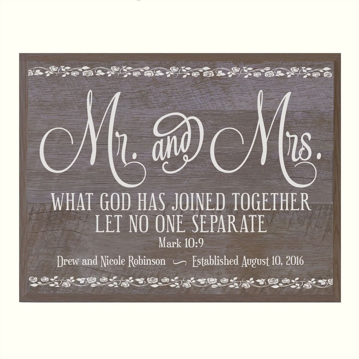 LifeSong Milestones Personalized Mr and Mrs Wedding Anniversary Wall Plaque Gift for Husband Wife Parents,Couple What God Has Joined Together 12 Inches Wide X 15 Inches High (Barnwood)