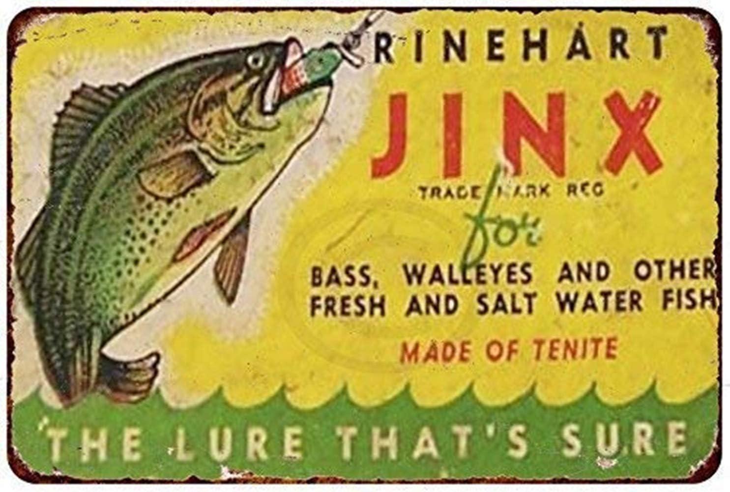 MAIYUAN Wall Decor Sign Rinehart Jinx Fishing Lure Rustic Vintage Look Aluminum Metal Sign 8x12 Inches (BBM4016)